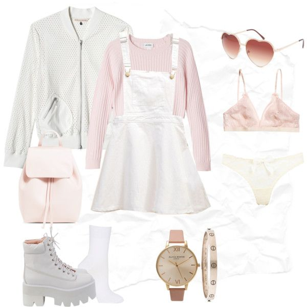 A fashion look from October 2014 featuring pink crop top, bomber jacket and denim skirt. Browse and shop related looks.