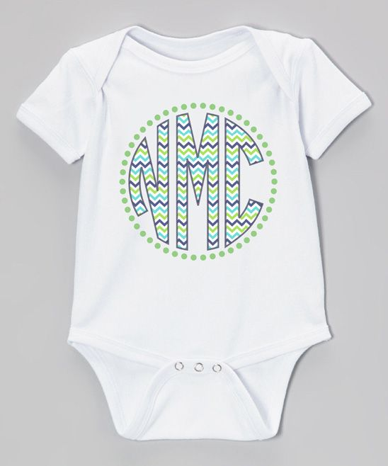 White & Green Chevron Monogram Short-Sleeve Bodysuit - Infant