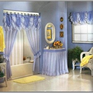 Incredible Bathroom Shower Curtains Sets & soft Light Purple Wall Color &  White Fiber Bathtub