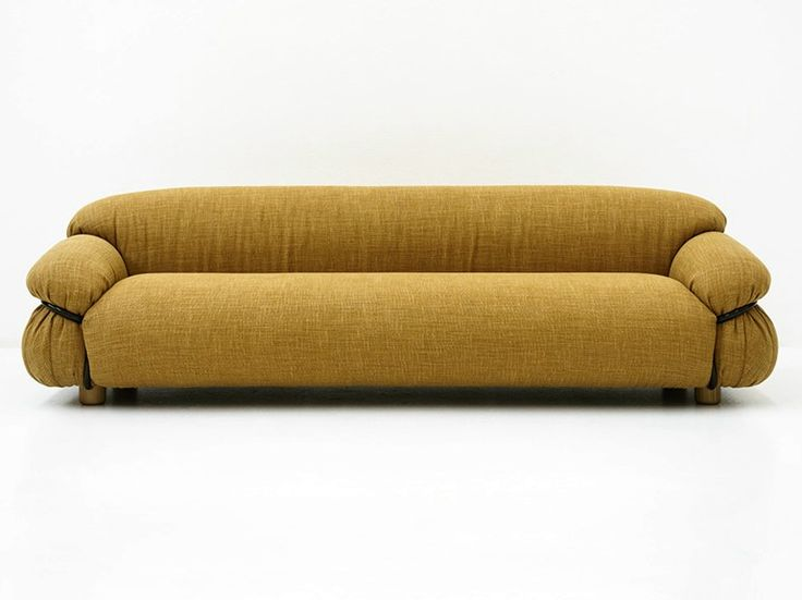 Upholstered 3 seater fabric sofa SESANN | Fabric sofa - Tacchini Italia Forniture #yellow #design #sofa