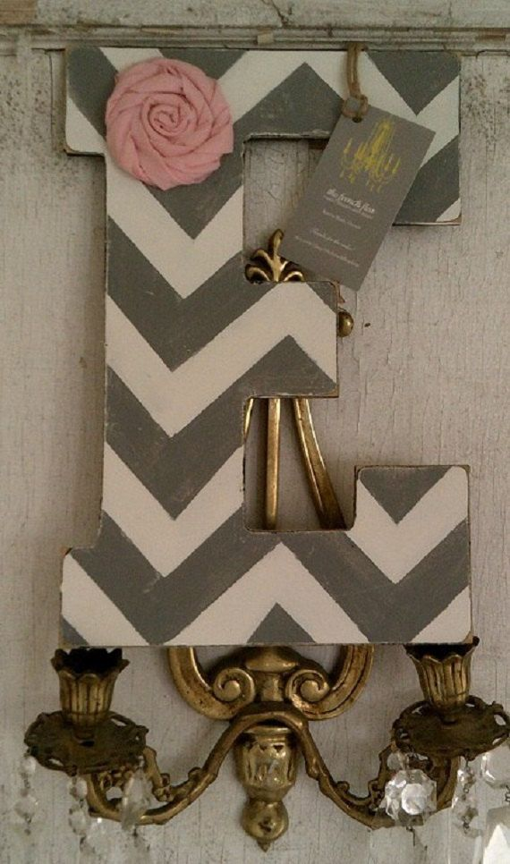 Baby Custom Chevron Letters Distressed in by thefrenchfleashop, $14.00