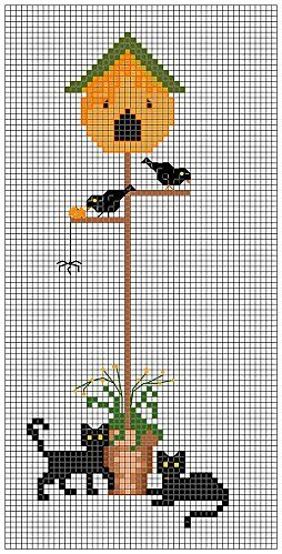 Cross-stitch BIRDHOUSE- two cats. no color chart, just use pattern chart colors as your guide.. or choose your own colors.