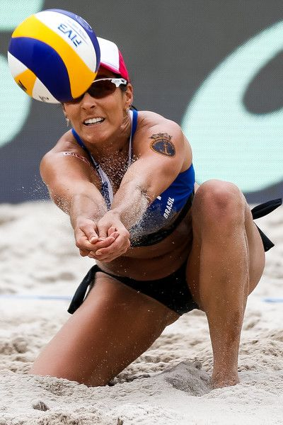 Agatha Bednarczuk of Brazil in action during the Women's Finals match against Sarah Pavan and Melissa Humana-Paredes of Canada of Brazil at Olympic Park during day four of the FIVB Beach Volleyball Rio Grand Slam, on May 21, 2017 in Rio de Janeiro, Brazil.