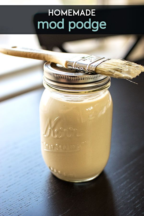Homemade Mod Podge! Save a few bucks and make your own homemade mod podge with ingredients you already have. It's nontoxic and kid friendly!   HomemadeHooplah.com