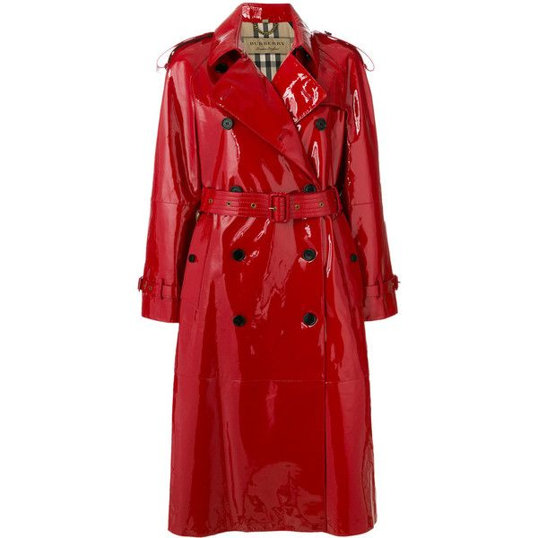 Burberry patent trench coat ($3,594) ❤ liked on Polyvore featuring outerwear, coats, red, patent trench coat, long sleeve coat, double-breasted trench coat, red double breasted coat and red trenchcoat