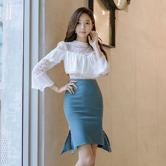 b38a5db682805 Women Two Piece Sets Lace Ruffles Blouse Beading Split Skirts ...