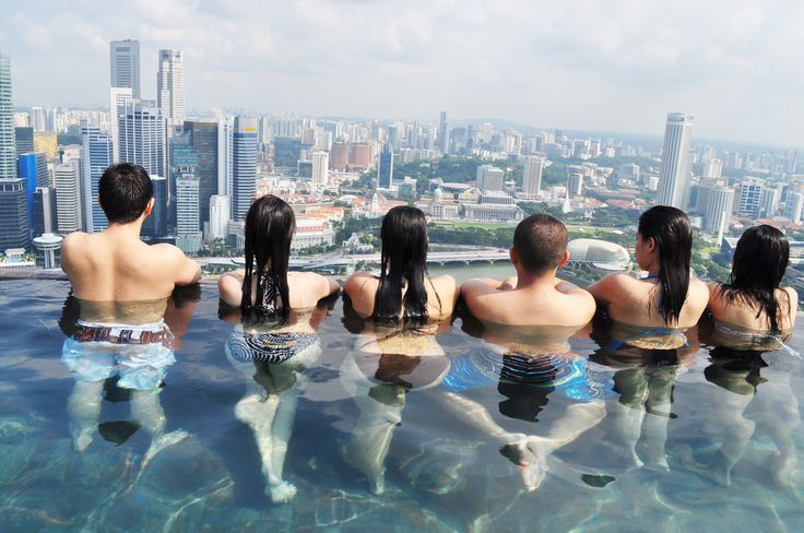 View from Infinity Pool at Marina Bay Sands Sky Park in Singapore