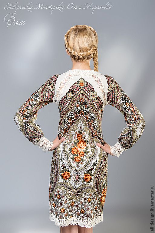 """Купить Платье """" Настенька"""" - нарядное платье, Коктейльное платье, платье, Павлопосадский платок"""