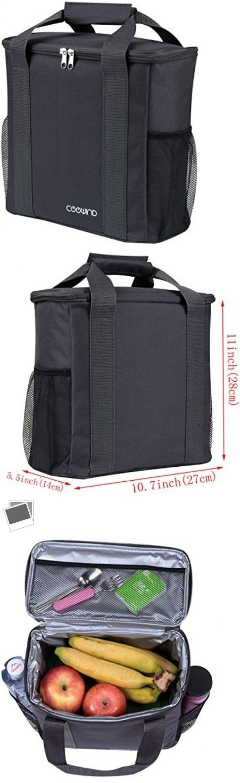 Lunch Containers 101428: 16 Can Insulated Large Lunch Box Cooler Picnic Bag Tote 11 X 10.7 X 5.5 (Gray) -> BUY IT NOW ONLY: $31.99 on eBay!