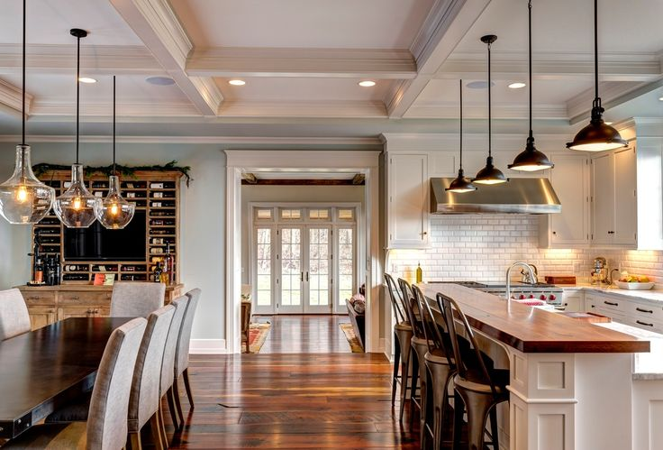Traditional Kitchen With Lamps Plus Kichler Everly Chrome 12 Wide Glass Pendant Light Kitchen