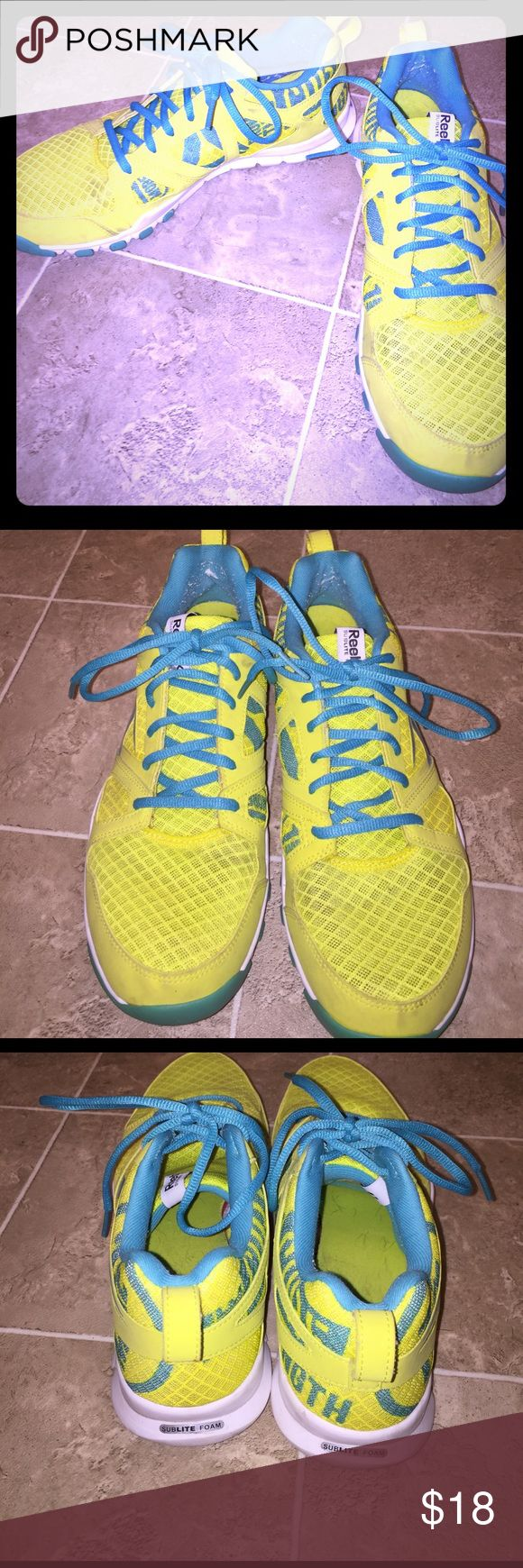 Reebok sublite foam sneakers Reebok Sublite Foam sneakers, size 9.5 women's, neon yellow and teal. Only worn a handful of times. Great shoe. Reebok Shoes Athletic Shoes