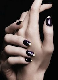 black black French manicure nails