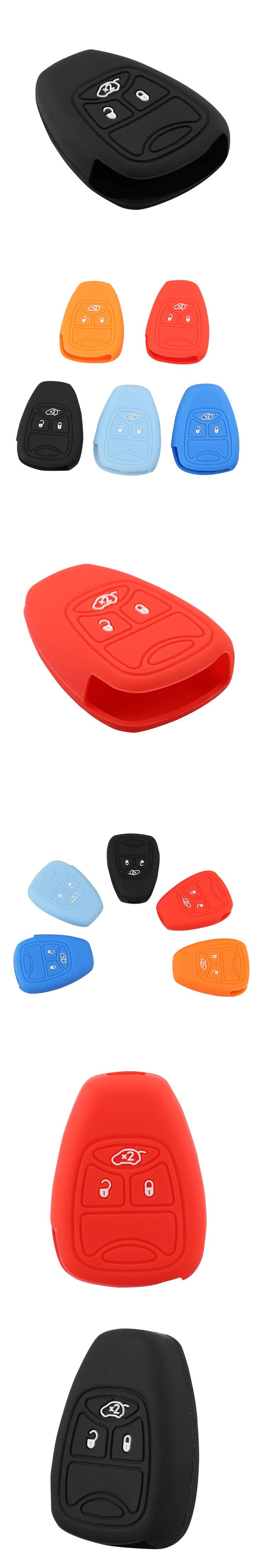 Colorful 3 Buttons  Silicone Car Key Cover Case For Jeep Chrysler 200 300 Aspen PT Cruiser Sebring Dodge Durango Key Shell