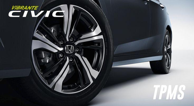Sistema de control de presión de neumáticos (TPMS)  #HondaCivic 2016 Le avisa cuando la presión en cualquiera de los cuatro neumáticos alcanza un punto muy bajo. #GritaQuiénEres