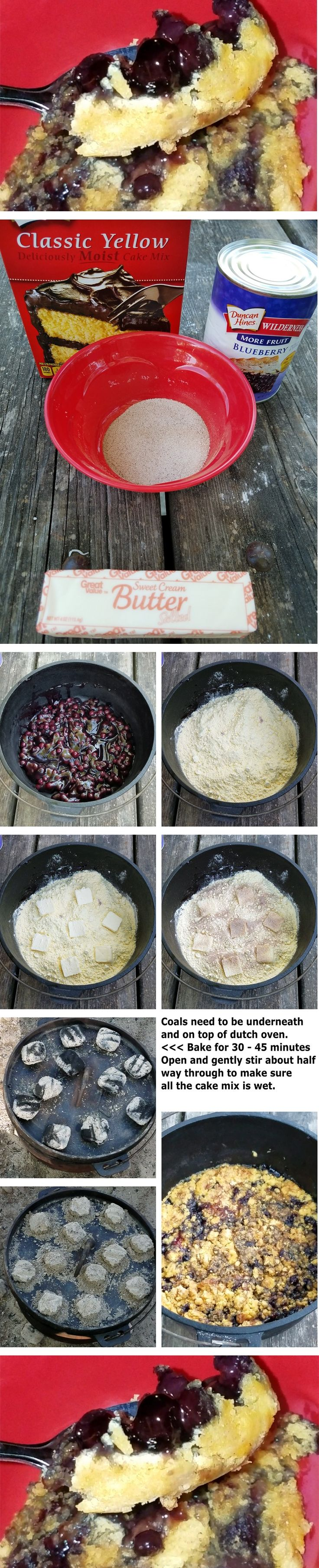 Super easy to make blueberry cobbler in a dutch oven.  Great for camp!