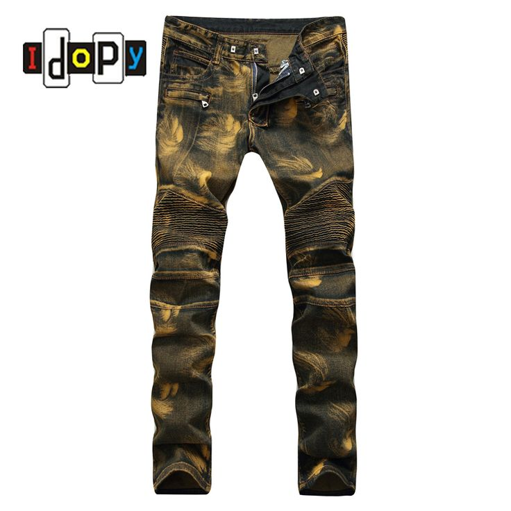 Fashion Vintage Mens Ripped Biker Jeans Pants Slim Fit Pleated Hip Hop Motorcycle Denim Joggers Male Streetwear Jean Trousers -- AliExpress Affiliate's Pin. Click the image to view the details