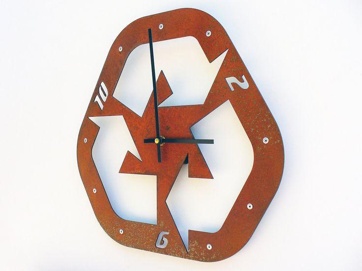 great break room clock idea recycle ii medium wall clock rusted wall clock modern wall