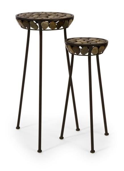"""Horizon Plant Stands - Set of 2 - Three legged plant stands with pebble accents. Material: 100% Iron. 21.25-25.75""""h x 8.75-11.75""""d."""