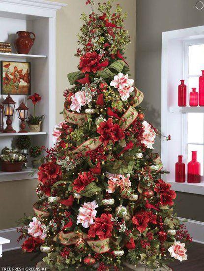 Tematica de árbol de navidad con belladonas de colores blanco y rojo. #DecoracionDeNavidad