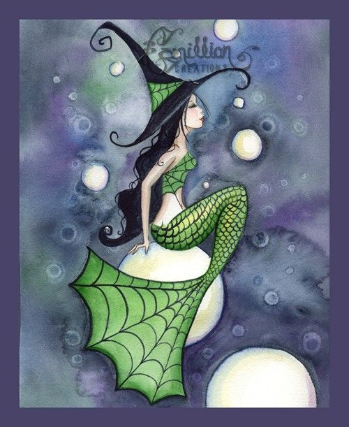 Mermaid Witch with Bubbles  from Original Watercolor Painting by Camille Grimshaw