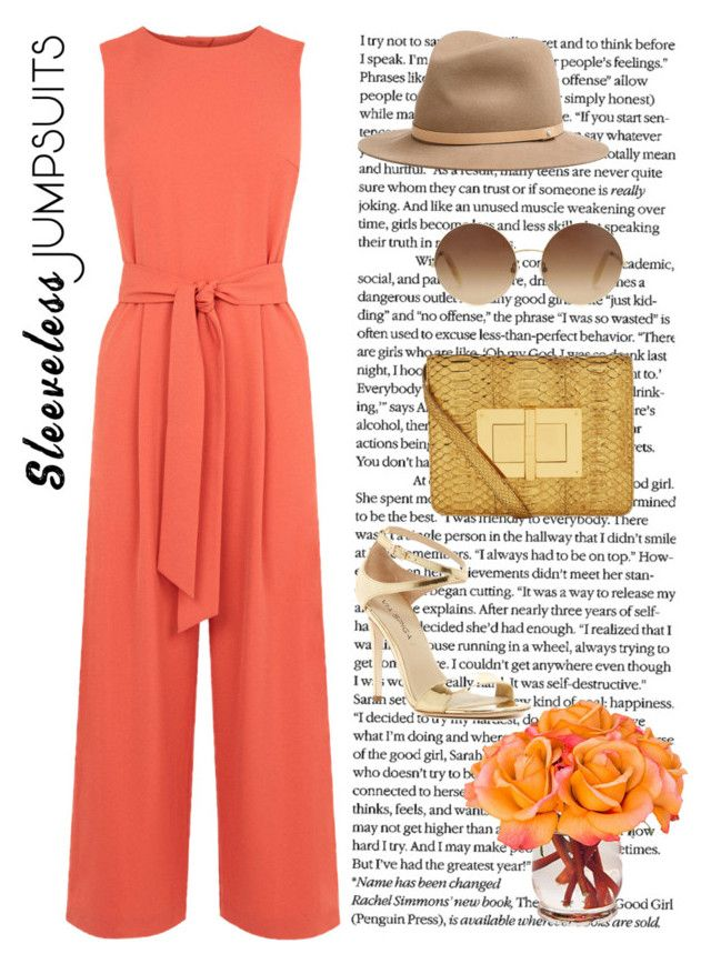 """""""coral jumpsuits"""" by freshdee on Polyvore featuring Warehouse, rag & bone, Victoria Beckham, Tom Ford, Via Spiga and sleevelessjumpsuits"""