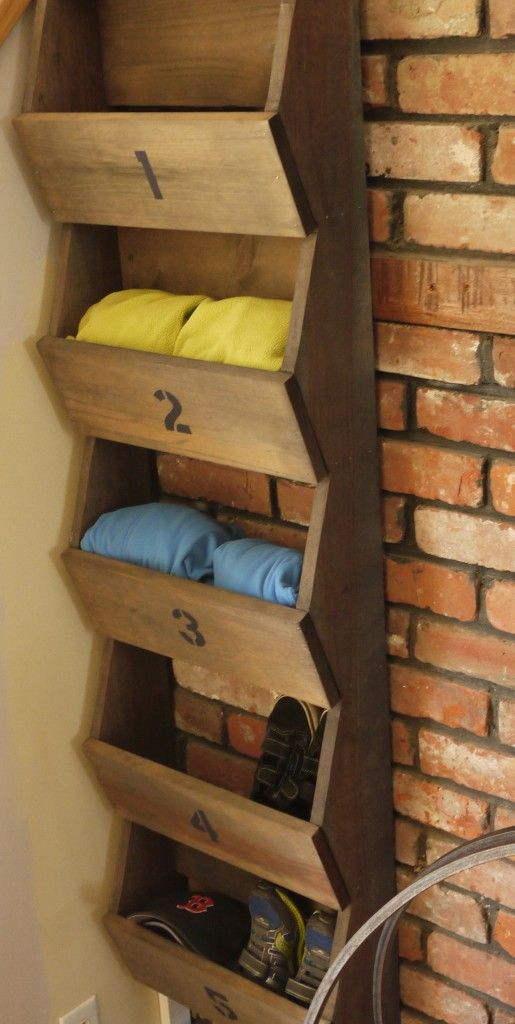 wood shoe rack, but no numbers. I'm done with the numbers and the letters and the hokey sayings.