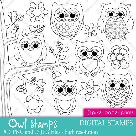 Owl stamps  Digital Stamps set by pixelpaperprints on Etsy