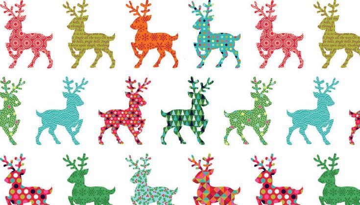 COTTON FABRIC Festive Reindeer - Makower UK 100% premium cotton Christmas 2015 by BirdyandBlue on Etsy