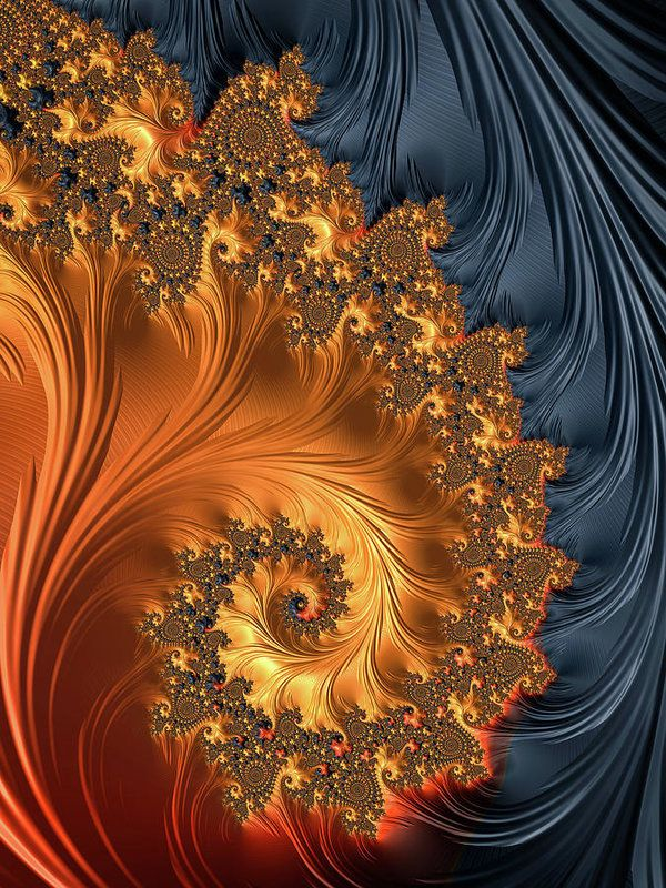 Fractal Spiral with beautiful warm colors Art Print for sale. Orange, gold, sienna, chocolate, saddlebrown, darkslategray and black tones. Available as poster, framed print, metal, acrylic or canvas print. Art for your Home Decor and Interior Design by Matthias Hauser.