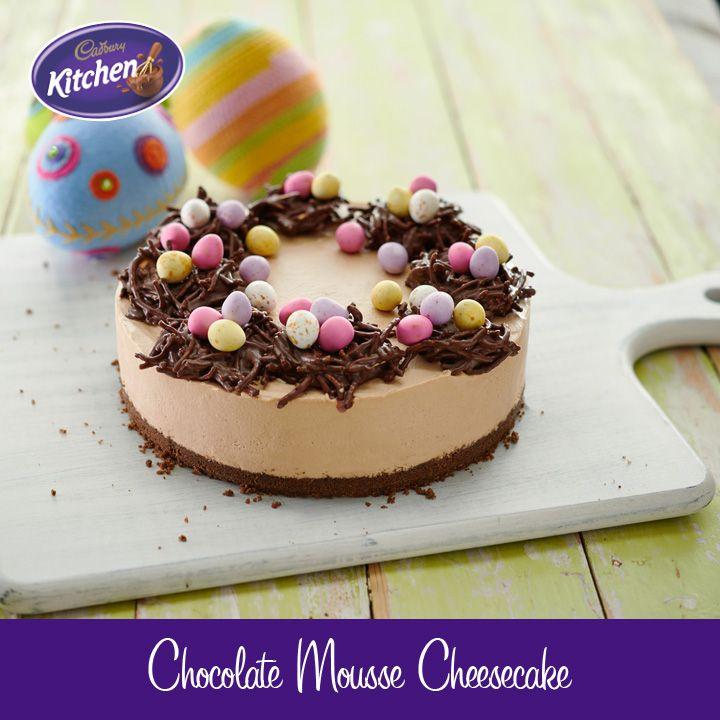 Feast your eyes on this delicious #chocolate mousse #cheesecake topped with chocolate noodle nests & mini #Easter eggs and have yourself a happy Easter indeed!! #baking To view the #CADBURY product featured in this recipe visit https://www.cadburykitchen.com.au/products/view/cadbury-melts/