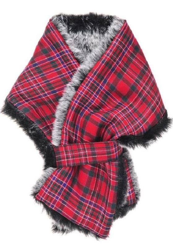Tartan and faux fur scarf
