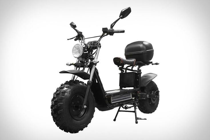 Beast Off-Road Scooter- Rugged, street-legal, and eco-friendly, the Beast Off-Road Scooter blends a surprising mix of features into a versatile vehicle. An electric motor (or two) propels the bike to speeds of up to 30 miles and hour, and is powered by a rechargeable battery pack that can draw juice from a wall outlet, from the kinetic energy created by pedalling, or from the integrated solar panel.