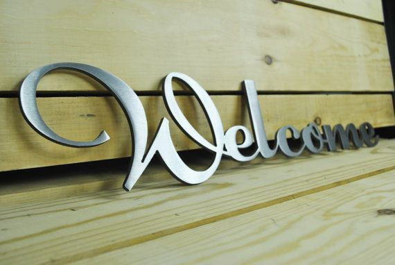 Stainless Steel Welcome Sign Free Shipping by MezaModernDesigns