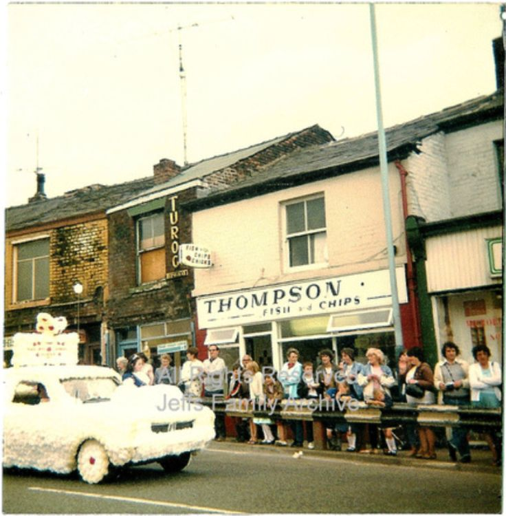 Thompson's fish and chip shop, Stand Lane, Radcliffe. nd during Radcliffe Carnival.