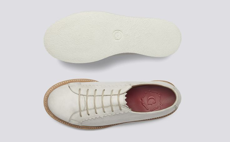 Effy | Womens Shoe in Ivory Calf Leather with a White Rubber Sole | Grenson Shoes