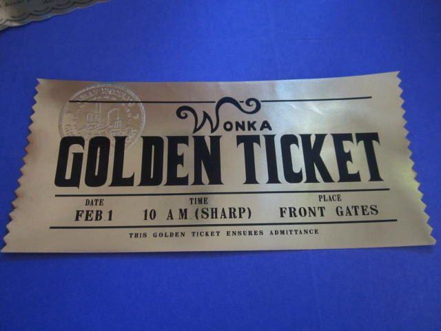 12 Custom Modern Willy Wonka Golden Tickets as Birthday Invitations. $72.00, via Etsy.