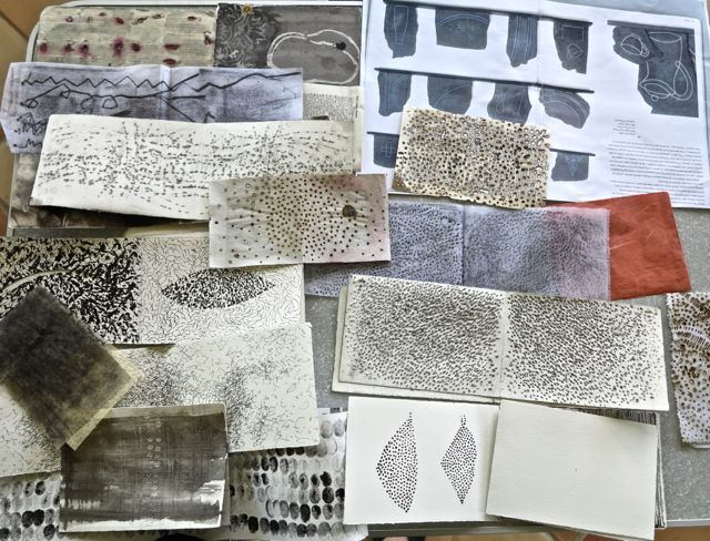 """A collection of pages from """"Human Marks,"""" a workshop given by Dorothy Caldwell, in Brisbane (as blogged about by Sophie Munns)"""