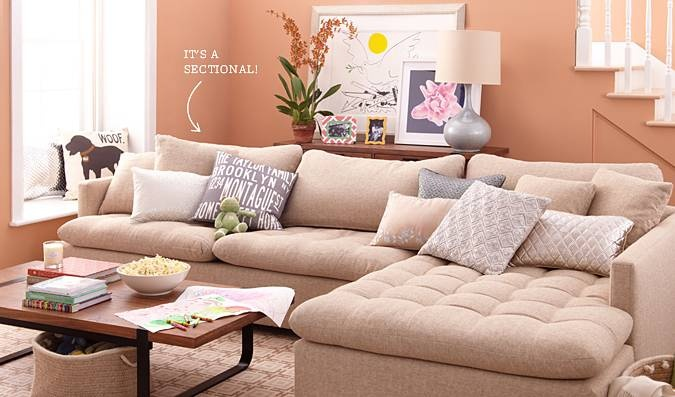 linen sectional couch, sofaDecor, Wall Colors, Coffee Tables, Soo Comfy, Living Rooms, Livingroom, Elites Leather, Pink Wall, Families Room