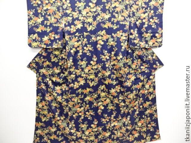 Купить Японское кимоно - тёмно-синий, кимоно, японское кимоно, шелк, шелк натуральный