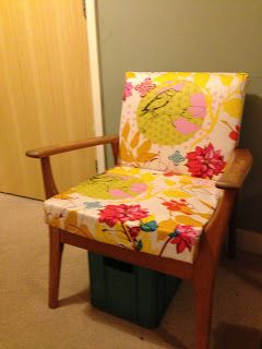 Upholstered chair using Anna Maria Horner's Drawing Room fabric