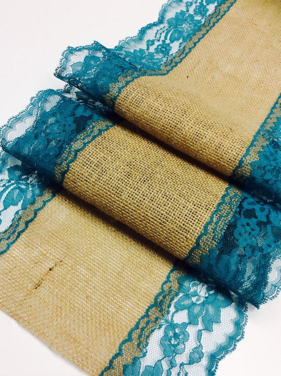 Hey, I found this really awesome Etsy listing at https://www.etsy.com/listing/187947120/burlap-lace-table-runner-with-tealjade