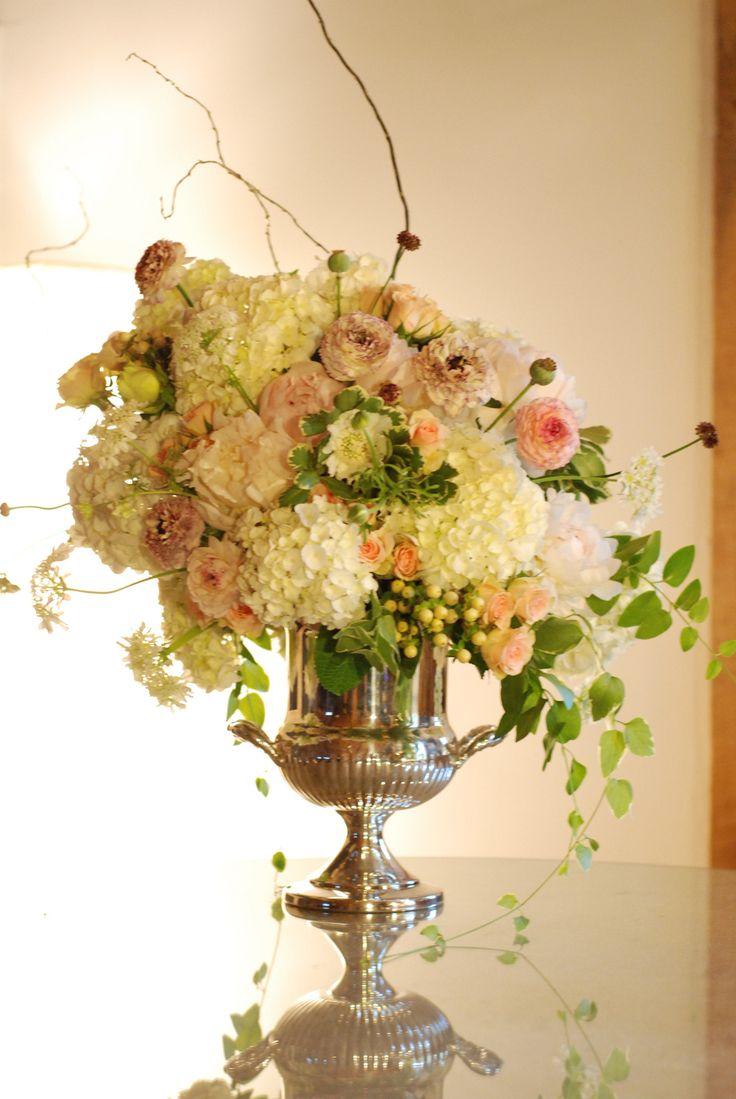 Big floral arrangement on silver container
