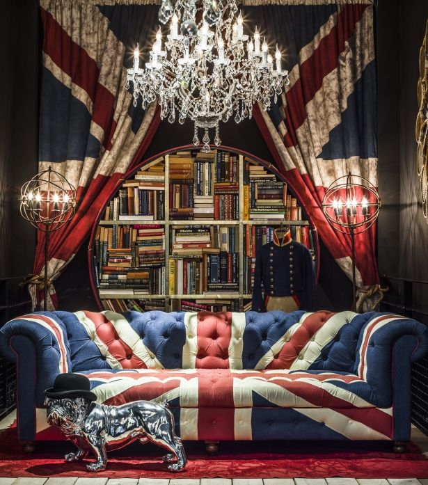 So over the top and so striking, jeeze... The Westminster Union Jack sofa is a playful celebration of royal Britannia on a classic Chesterfield silhouette. Original furniture by Timothy Oulton.