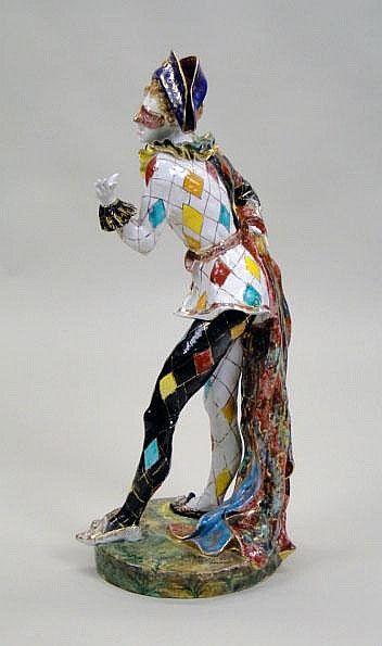 Professor Eugenio Pattarino Italian (1885-1971) Glazed Ceramic Harlequin…