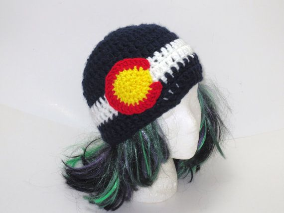 Colorado Flag Beanie  Colorado Hat  by BitchinBagsbyBenita on Etsy, $28.00 just listed