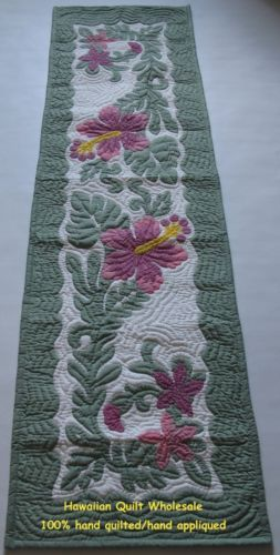 Hawaiian Table Runner Quilt Wall Hanging Handmade Hand Quilted Appliqued 70x20 | eBay