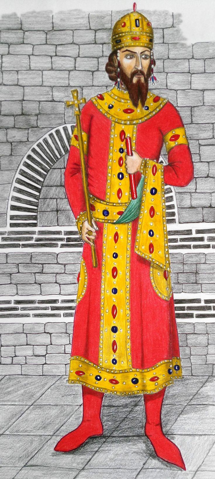 Ivan Alexander (ЇѠАНЪ АЛЄѮАНдРЪ), Tsar of Bulgaria from 1331 to 1371. Drawing inspired by Tetraevangelia of Ivan Alexander  ЇѠАНЪ АЛЄѮАНдРЪ Bulharský cár Ivan Alexander (1331-1371), kresba podľa miniatúry v tzv. Štvorevanjeliáry cára Ivana Alexandra ktorý vznikol medzi rokmi 1355 - 1356.