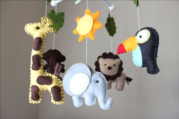 Baby Crib Mobile Baby Mobile Nursery Jungle by dropsofcolorshop