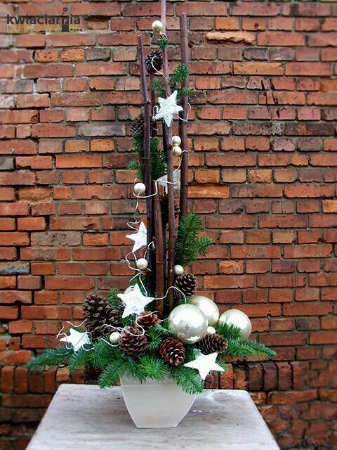 Winter arrange with pine cones and stars