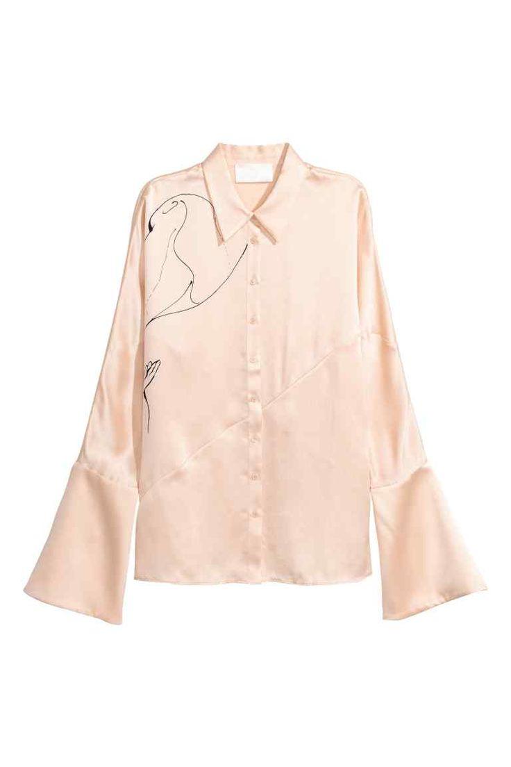 Zijden blouse - Lichtbeige - DAMES | H&M NL